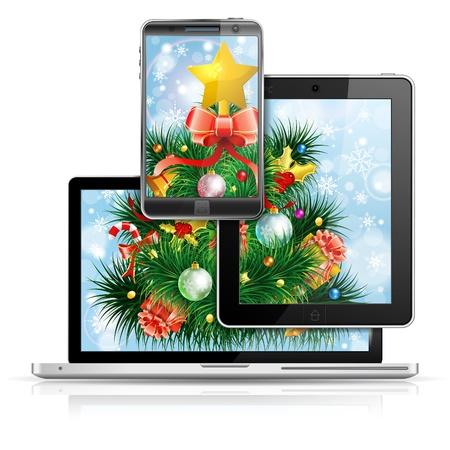 tablette pc: Arbre de No�l sur PC Tablet PC Portable �cran et Smartphone sur fond clair, isol� sur blanc, illustration vectorielle Illustration