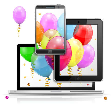 Birthday Balloons on Laptop Screen, Tablet PC and Smartphone, isolated on white background, vector illustration Vector