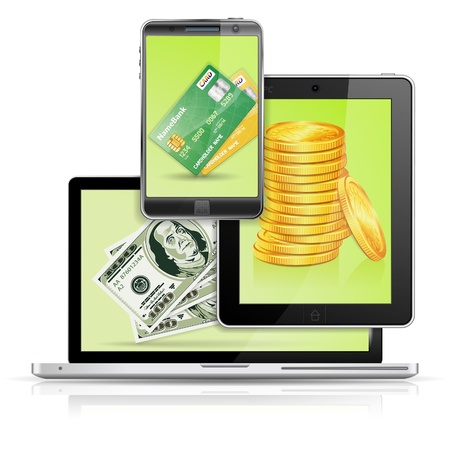 Money, Banknote and Credit Card on Laptop Screen, Tablet PC and Smartphone, isolated on white background, vector illustration Vector