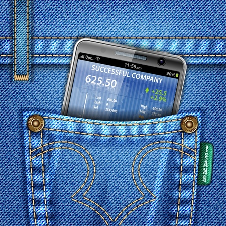 Jeans with Smartphone (Stock Market Application) in Pocket, vector illustration Vector