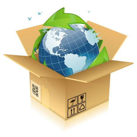 Earth with Environmental Arrows, City Skyline, Tree and Birds in Cardboard Box, icon isolated on white background, vector illustration Stock Vector - 16424591