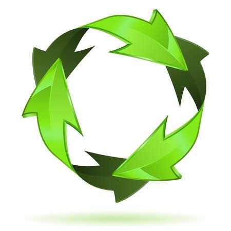eficiencia: Medio Ambiente y Reciclaje del icono 3D aislado en ilustraci�n vectorial de fondo blanco,