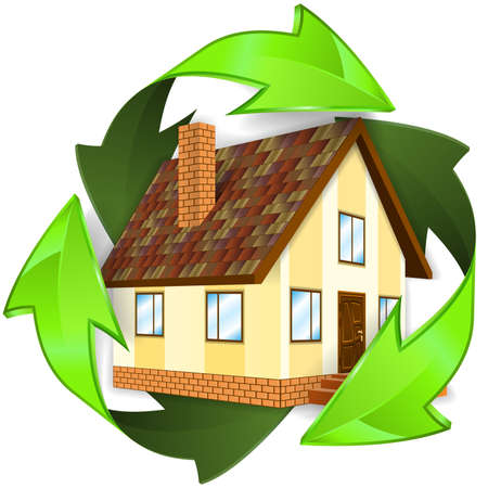 green environment: Environmental and Energy Saving Concept - House icon in Recycling Symbol, isolated on white background, vector illustration