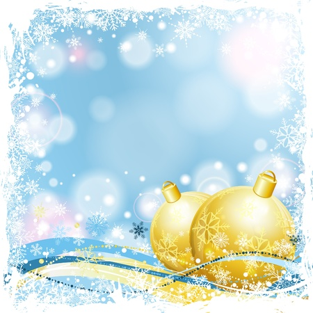 Christmas Card with Baubles and Snowflakes Frame, illustration Stock Vector - 16463930