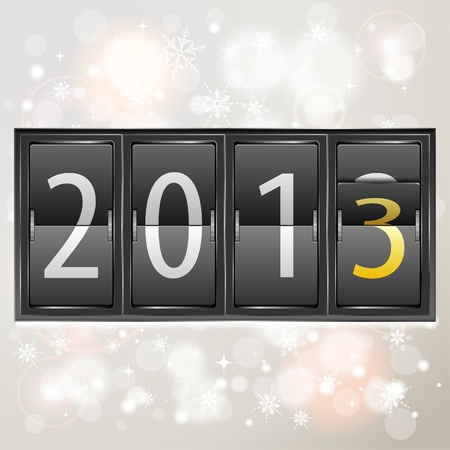 Mechanical Timetable with New Year 2013 on Bright Background,  illustration Vector