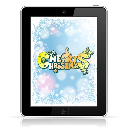 Christmas Card on Screen Tablet PC over Bright Background, isolated on white,  illustration Vector
