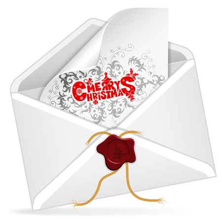 Envelope with Christmas Card, isolated on white,  illustration Vector