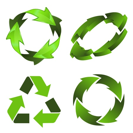 Set Environmental and Recycling 3D Icon isolated on white background  Vector