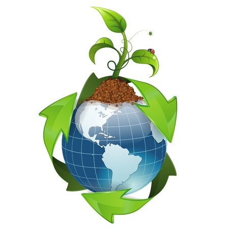 save environment: Earth with Environmental Arrows and Green Sprout, isolated on white icon