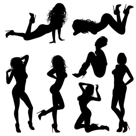 corps femme nue: Silhouettes Sexy Girl dans diverses poses, isolé sur fond blanc Illustration