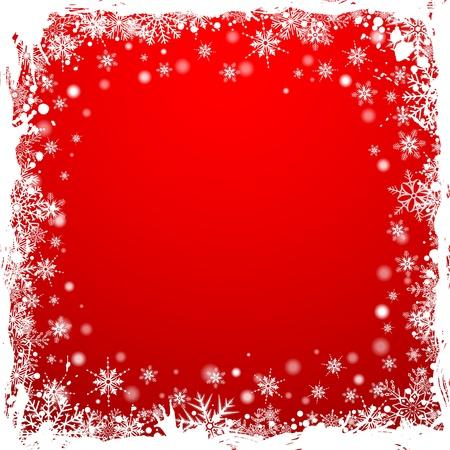 christmas menu: Grunge Christmas Frame with Snowflakes, vector illustration
