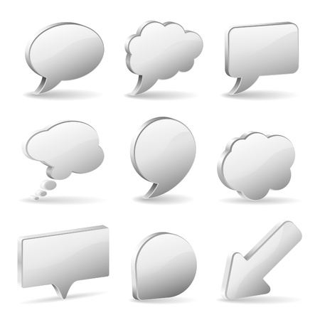 Set 3D Speech and Thought Bubbles and Arrow, easy to change colors, vector illustration