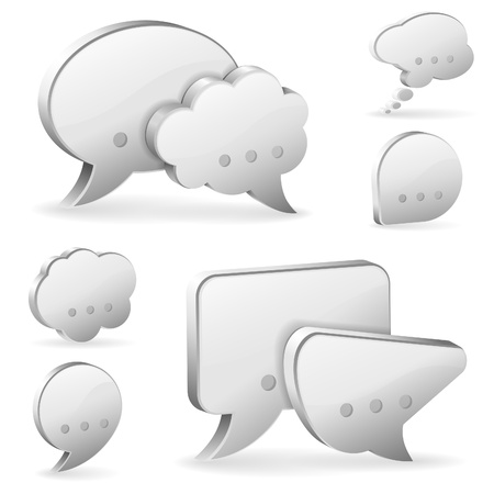chat balloon: Set Speech and Thought Bubbles, social media concept, easy to change colors, vector illustration