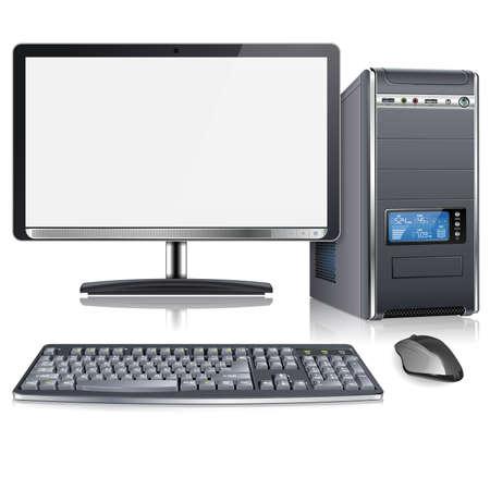 počítač: Realistické 3D Počítačová skříň s monitorem, klávesnicí a myší, izolovaných na bílém pozadí, vektorové ilustrace