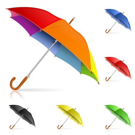 lluvia paraguas: Recoger alta Paraguas detalladas coloridas, aisladas sobre fondo blanco, ilustraci�n vectorial