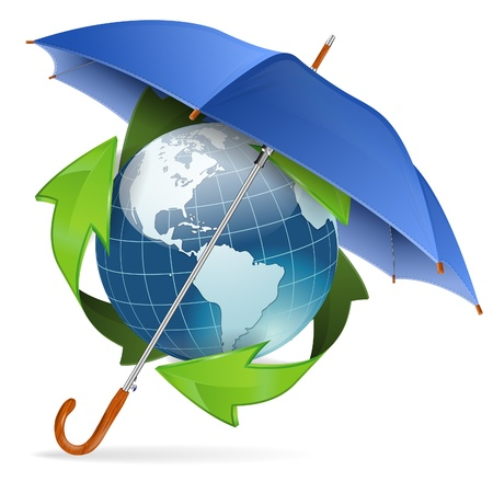 environmental protection: Umbrella Protect Earth with Environmental Arrows, icon isolated on white background, vector illustration