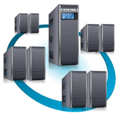 server: Concetto di rete - Server con display LCD e Workstation, isolato su sfondo bianco, illustrazione