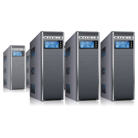 chassis: Network Concept - Servers with LCD Display, isolated on white background,  illustration Illustration