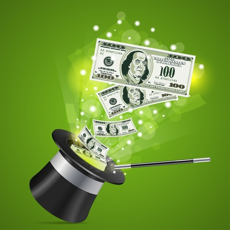 Magician Hat with Dollar Bills and Wand,  illustration Stock Vector - 16831772
