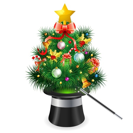 Magician Hat with Christmas Tree, icon isolated on white background,  illustration Stock Vector - 16831792