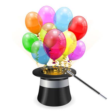 mago: Mago Hat 3D con globos de cumpleaños transparentes y Streamer, color de fácil cambio, icono aislados sobre fondo blanco ilustración,