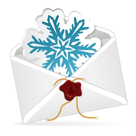 Christmas Envelope with Snowflake, isolated on white, illustration Stock Vector - 16907452