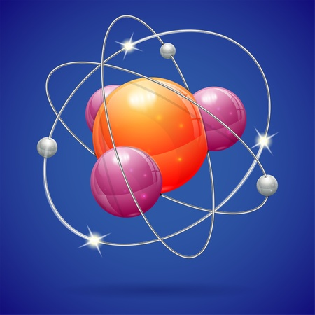 PROTON: 3D Realistic Atom Model, icon on blue background Illustration