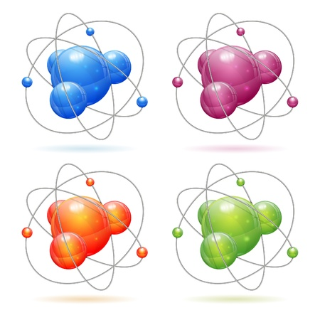 3d atom: Set 3D Realistic Atom Model, icon isolated on white background