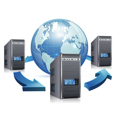 pc case: Network Concept - Servers with LCD Display and Earth, isolated on white background, vector illustration Illustration