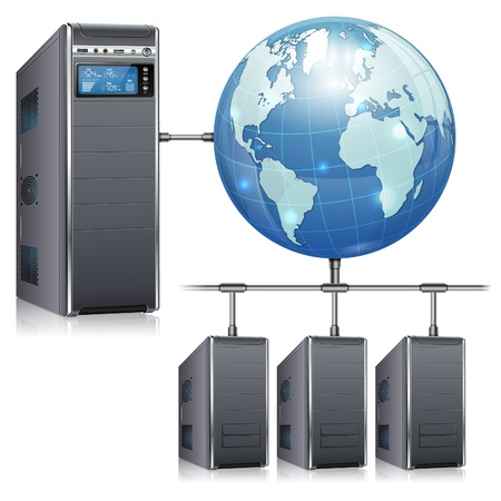 estação de trabalho: Conceito de rede - Servidores com LCD Display, Workstation e Terra, isolado no fundo branco, ilustra��o vetorial