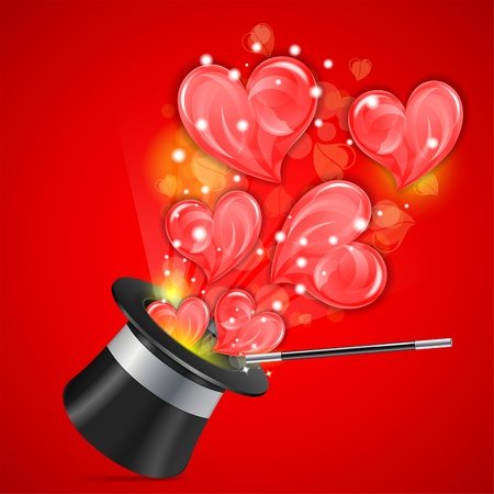 Magician Hat with Hearts and Wand, vector illustration Vector