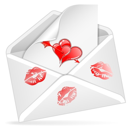 Letter Happy Valentine's Day, with prints of lips and hearts with arrow, vector isolated on white background Vector