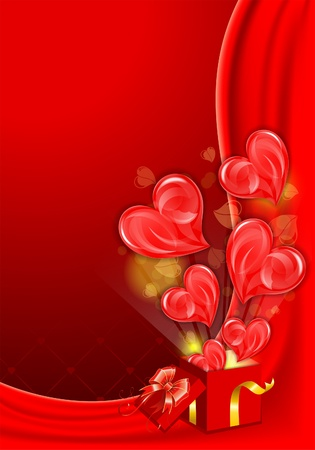 Valentines Day Card with Hearts and Box, vector illustration Vector