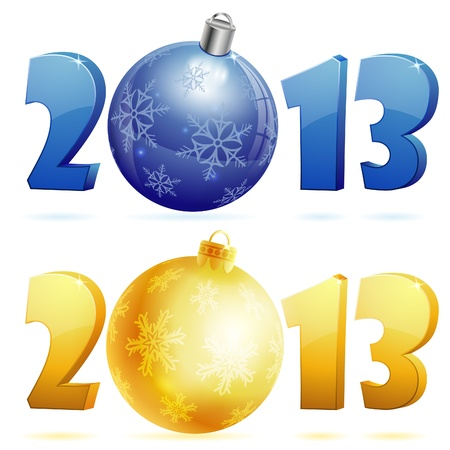 New Year with 2013 number, isolated on white background, vector illustration Stock Vector - 17470795