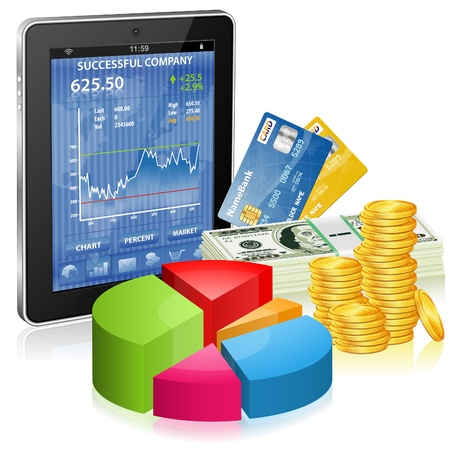 Financial Concept Make Money on the Internet with Tablet PC (Stock Market Application), Graph and Credit Card, icon isolated on white, vector Stock Vector - 17470794