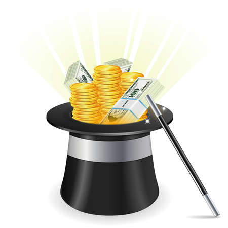 magic show: Magician Hat with Dollar Bills, Coins and Wand, vector isolated on white background
