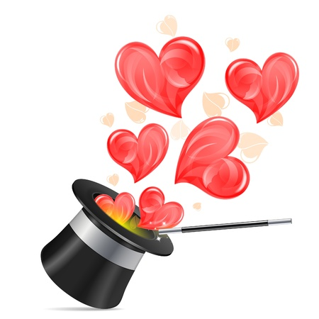 spell: Magician Hat with Hearts and Wand, isolated on white background, vector illustration