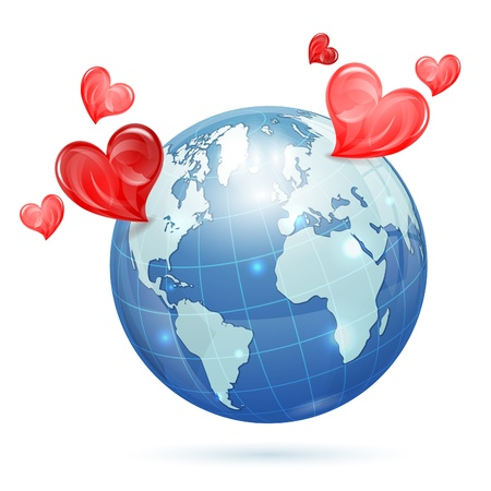 Global Valentines Day Concept - Earth with Hearts, isolated on white background, vector illustration Vector