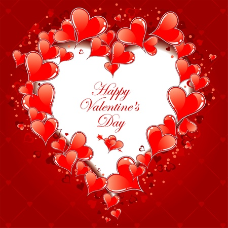 Valentines Day Frame with Hearts, vector illustration Vector