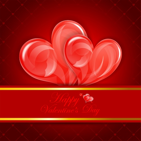 Valentines Day Card with Hearts mounted in pocket, vector illustration Stock Vector - 17681840