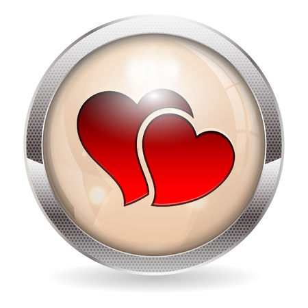 3D Valentine Button, isolated on white, vector illustration Stock Vector - 17681835