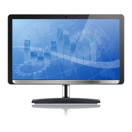 Business concept - Graph on Computer Monitor, isolated on white background, vector illustration Vector