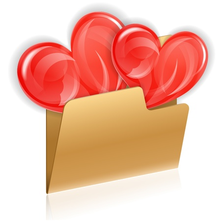 Valentines Day Concept - Hearts in Computer Folder, isolated on white, vector icon Stock Vector - 17681839