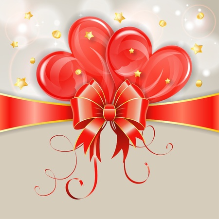 Valentines Day Card with Hearts and Bow, vector illustration Vector