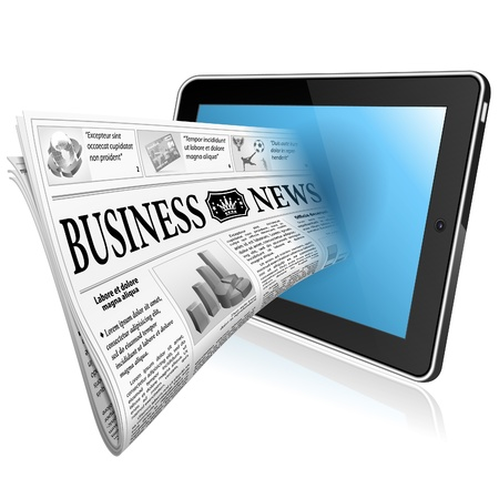 digital news: Digital News Concept with Business Newspaper on screen Tablet PC, vector isolated on white background Illustration