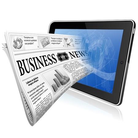 tablette pc: Concept Nouvelles num�rique avec le journal d'affaires sur les Tablet PC �cran, isol� sur fond blanc Illustration