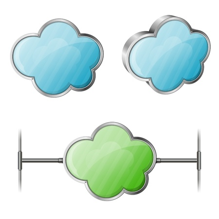 Cloud Computing Concept - Set Cloud with Network Cable Stock Vector - 18025067