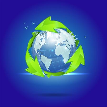 Earth with Environmental Arrows, City Skyline, Tree and Birds, vector illustration Stock Vector - 18253546
