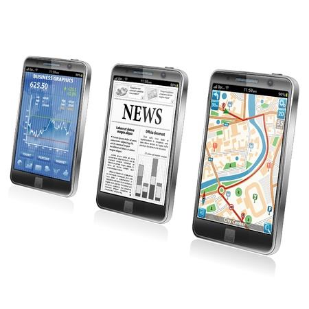 Collect Smartphone Applications - Stock Market, Business News, GPS Navigation, icon isolated on white, vector Stock Vector - 18253552
