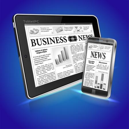digital news: Digital News Concept with Business Newspaper on screen Tablet PC and Smartphone, vector Illustration
